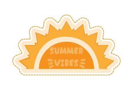 Vector cartoon illustration of summer vibes text sticker. Isolated on white background.
