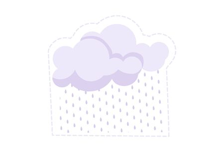 Vector cartoon illustration of rainy clouds. Isolated on white background. 일러스트