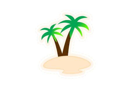 Vector cartoon illustration of palm trees. Isolated on white background.