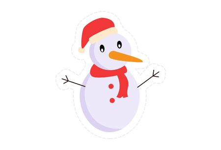 Vector cartoon illustration of snowman with Christmas cap. Isolated on white background.