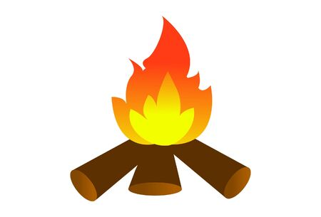Vector cartoon illustration of a wood fire. Isolated on white background.