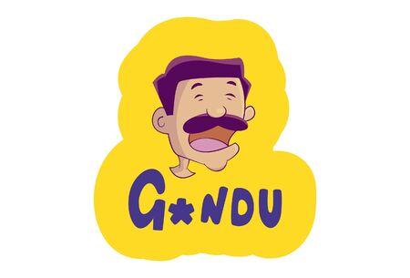 Vector cartoon illustration of angry man. Gandu Hindi text translation - stupid. Isolated on white background.
