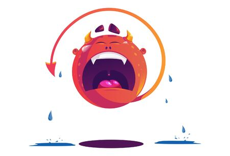 Vector cartoon illustration of monster crying. Isolated on white background. Illustration