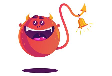 Vector cartoon illustration of monster with bell in tail. Isolated on white background.