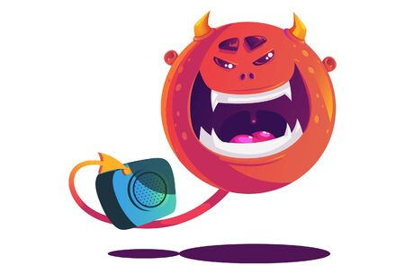 Vector cartoon illustration of orange monster with camera. Isolated on white background. Stock Illustratie