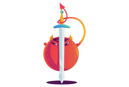 Vector cartoon illustration of monster with sword. Isolated on white background.