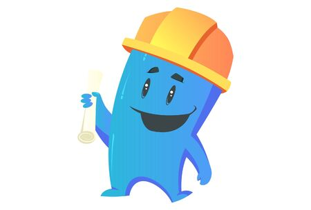 Vector cartoon illustration. Monster holding paper in hand and wearing engineer cap. Isolated on white background.