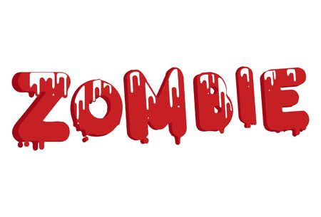 Vector cartoon illustration of zombie text sticker. Isolated on white background.