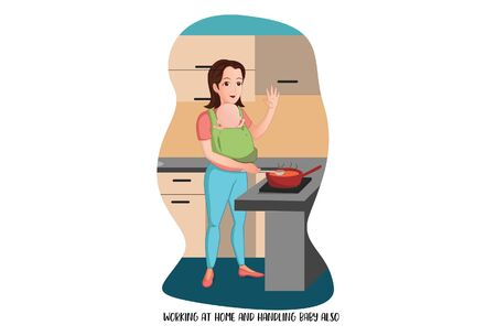 Vector cartoon illustration of woman working at home and handling baby also. Isolated on white background. Ilustração