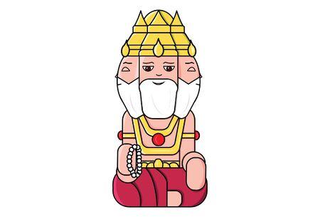 Vector cartoon illustration of god Brahma. Isolated on white background. Иллюстрация