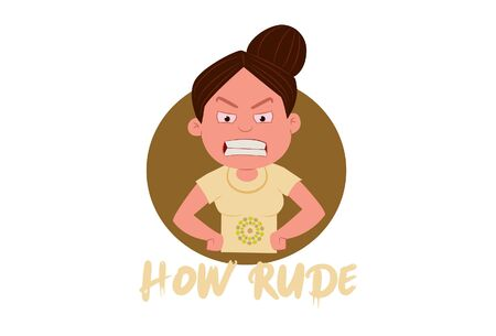 Vector cartoon illustration of angry girl. Lettering text how rude. Isolated on white background.
