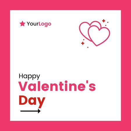 Vector illustration of happy valentines day banner design.