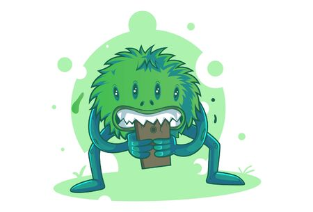 Vector cartoon illustration of foodester monster. Isolated on white background.