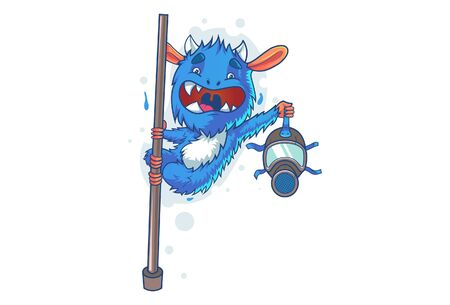 Vector cartoon illustration of jumproo monster. Isolated on white background.