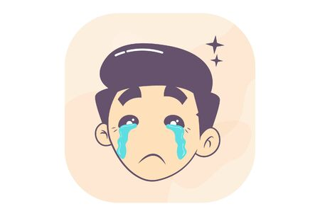 Vector cartoon illustration of boy tears in the eyes. Isolated on white background.