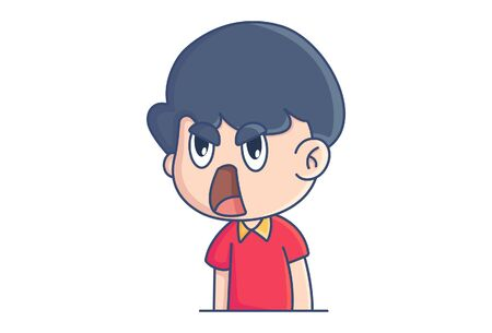 Vector cartoon illustration of surprised boy. Isolated on white background. Иллюстрация
