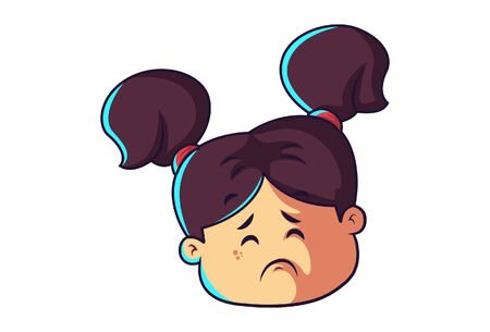 Vector cartoon illustration of sad girl face. Isolated on white background.