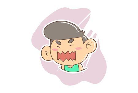 Vector cartoon illustration of irritated boy. Isolated on white background.