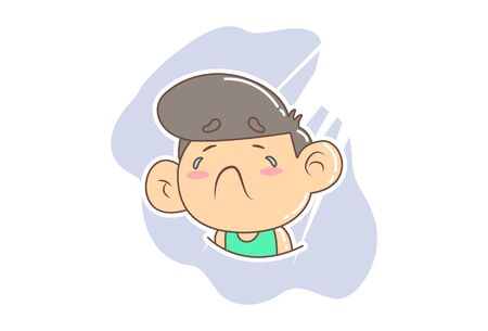 Vector cartoon illustration of boy crying. Isolated on white background.