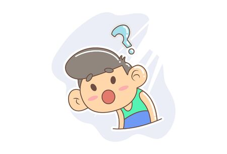 Vector cartoon illustration of the confused boy. Isolated on white background. Иллюстрация