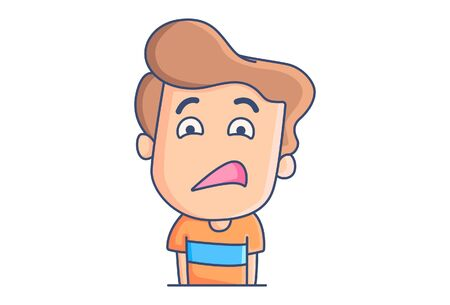 Vector cartoon illustration of the boy with weird face. Isolated on white background.