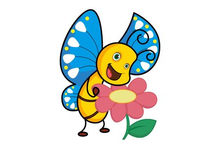 Vector cartoon illustration of the butterfly with flower. Isolated on white background.