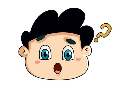 Vector cartoon illustration of the surprised boy. Isolated on white background.