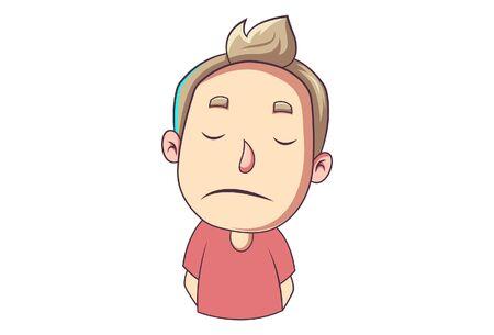 Vector cartoon illustration of sad boy. Isolated on white background. Vector Illustration