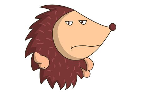 Vector illustration of annoy hedgehog. Isolated on white background.