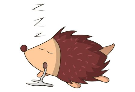 Vector cartoon illustration of hedgehog sleeping. Isolated on white background. 矢量图像