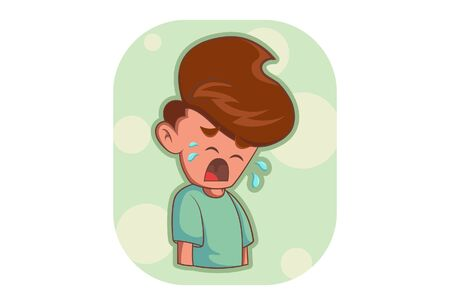Vector cartoon illustration of crying boy. Isolated on white background. Иллюстрация