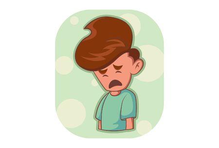 Vector cartoon illustration of sad boy. Isolated on white background.