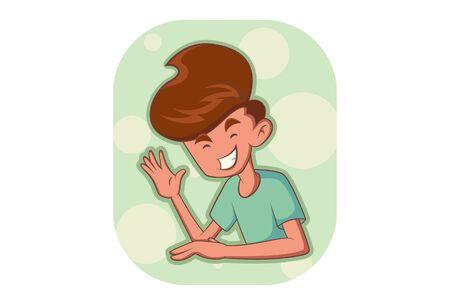 Vector cartoon illustration of the boy waving hand. Isolated on white background. Illusztráció