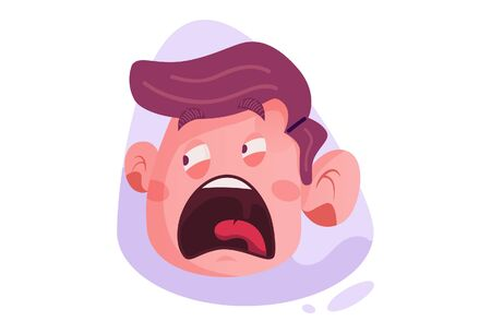 Vector cartoon illustration of the shouting boy face. Isolated on white background.