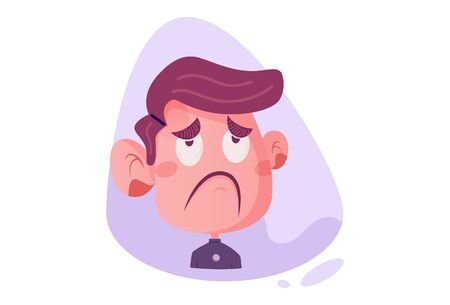 Vector cartoon illustration of the disappointed boy. Isolated on white background.