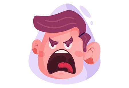 Vector cartoon illustration of the angry boy. Isolated on white background.