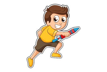 Vector cartoon illustration of boy with holi pichkari. Isolated on white background.