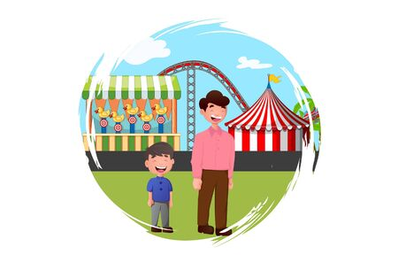 Vector cartoon illustration of boy with father. On the way to amusement park. Isolated on white background. Illustration