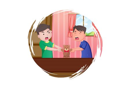 Vector cartoon illustration. Boys is holding toy and fighting each other. Isolated on white background.