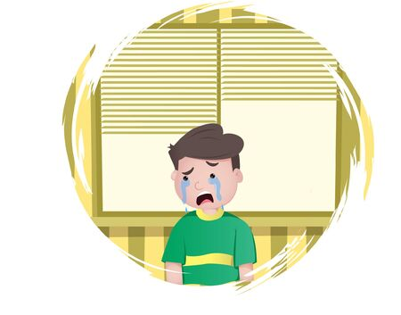 Vector cartoon illustration of boy is crying. Isolated on white background.