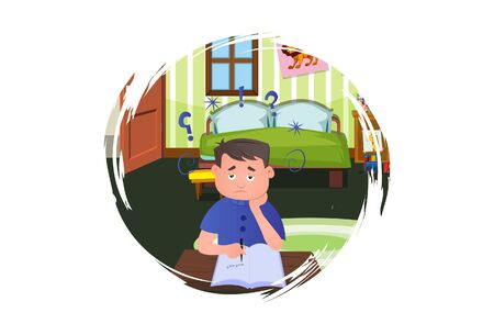 Vector cartoon illustration. Boy is reading book. Isolated on white background.