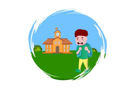 Vector cartoon illustration. Boy is crying not want to go school. Isolated on white background. Standard-Bild - 146368733