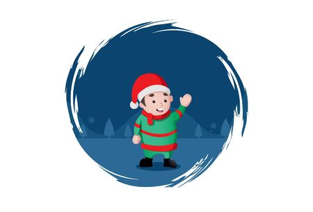 Vector cartoon illustration of boy wearing Christmas cap. Isolated on white background. Standard-Bild - 146368734