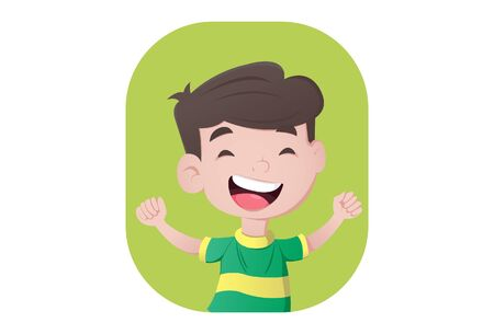 Vector cartoon illustration of boy is smiling. Isolated on white background. Standard-Bild - 146368736