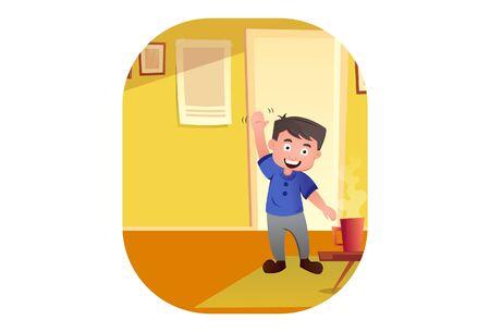 Vector cartoon illustration of boy saying hi. Isolated on white background. Illustration