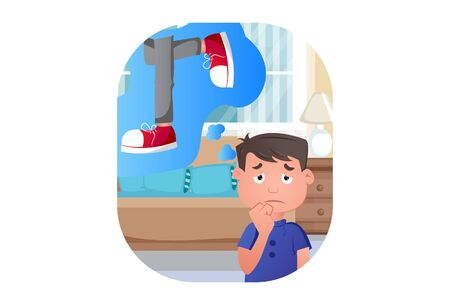 Vector cartoon illustration of boy thinking her friend shoes. Isolated on white background. Standard-Bild - 146368739