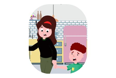 Vector cartoon illustration of boy with his mom. Isolated on white background.