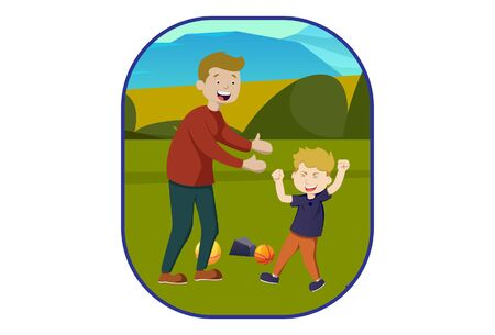 Vector cartoon illustration of boy playing with father. Isolated on white background.
