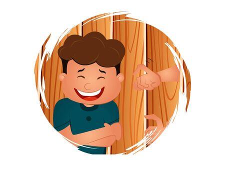 Vector cartoon illustration of happy boy. Isolated on white background.