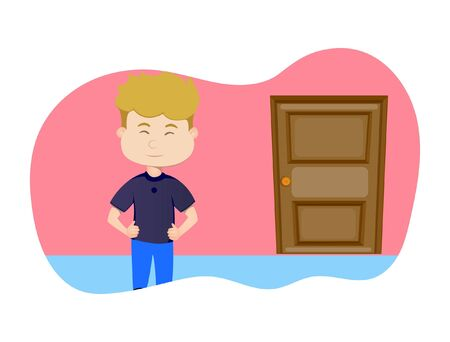 Vector cartoon illustration. Boy is at home and door is lock. Isolated on white background.